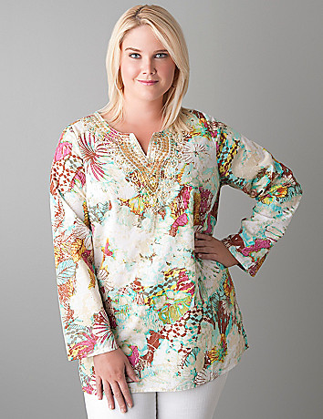 Embellished floral blouse by Lane Bryant