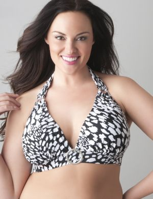 Animal print no-wire bikini top
