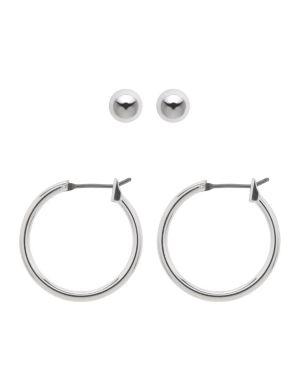 Silvertone earrings duo by Lane Bryant