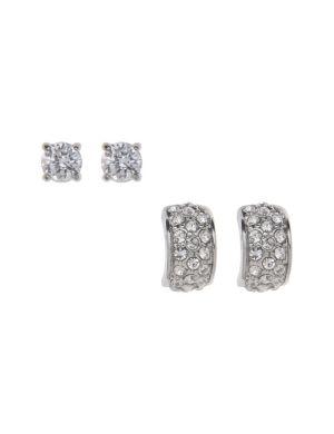Cubic zirconium stud & semi hoop earring