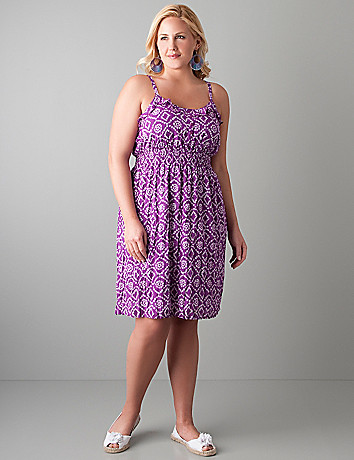 Plus size Ruffled batik sundress by Lane Bryant