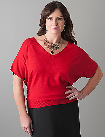 Short sleeve dolman sweater by Lane Bryant