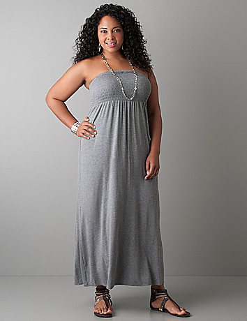Smocked strapless maxi dress by Lane Bryant