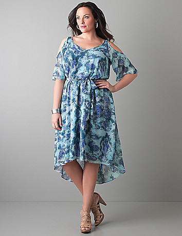 Cold shoulder snake print dress by Lane Bryant