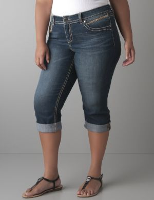 Heavy stitch denim capri