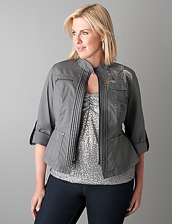 Embellished moto jacket by Lane Bryant