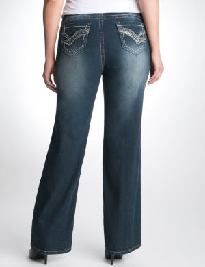 Sequin pocket slim boot jean