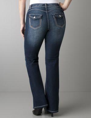 Deco stitch flare jean