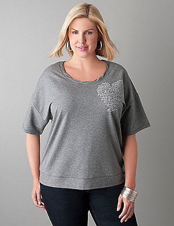 Twisted neckline active top by Lane Bryant