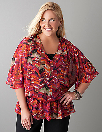 Drop waist print blouse by Lane Bryant