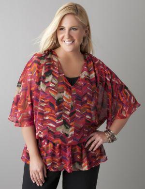Drop waist print blouse