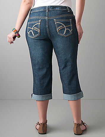 Rolled cuff denim capri by Lane Bryant