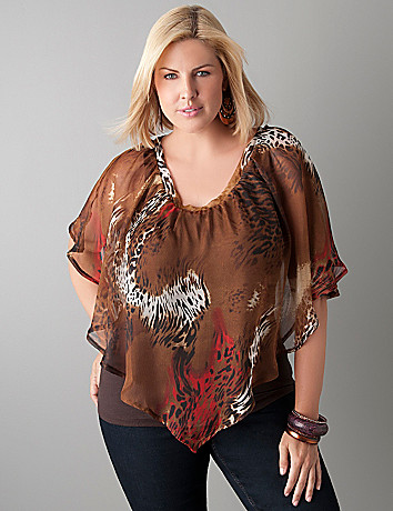 Animal print capelet top by Lane Bryant