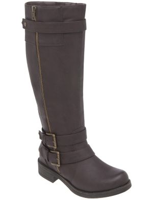 Side zip buckle boot