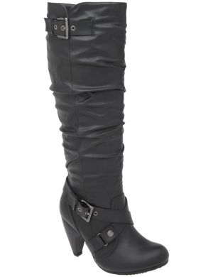 Cone heel tall boot