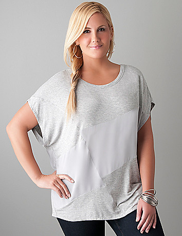 Mixed material dolman top by Lane Bryant