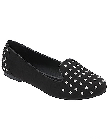 Faux suede studded flat by Lane Bryant