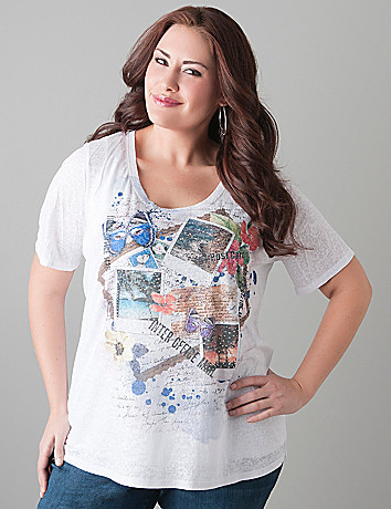 Postcard burnout tee by Lane Bryant
