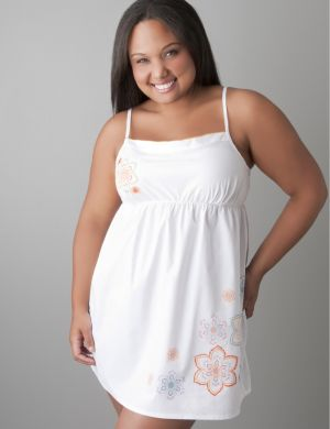 Embroidered woven chemise