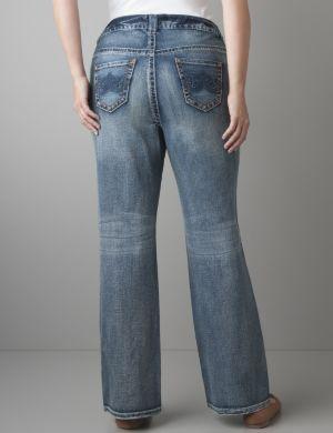 Distressed bootcut jean