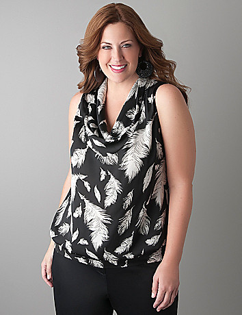 Cowl neck feather print shell tank by Lane Bryant