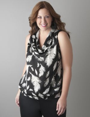 Cowl neck feather print shell