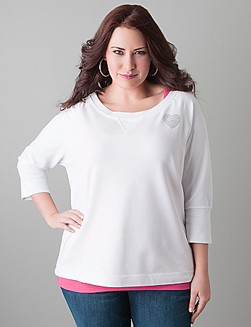 Embellished terry sweatshirt by Lane Bryant