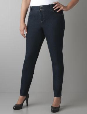 Dark rinse skinny jean with Tighter Tummy Technology