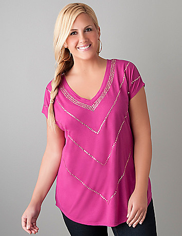 Sequin chevron dolman top  by Lane Bryant