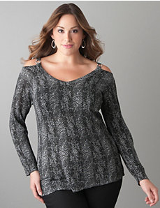 Shimmering python print sweater by Lane Bryant