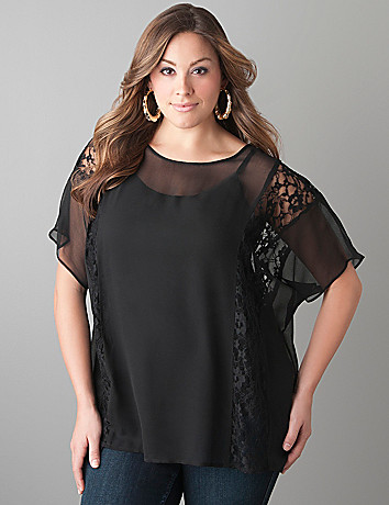 Lace inset sheer blouse by Lane Bryant