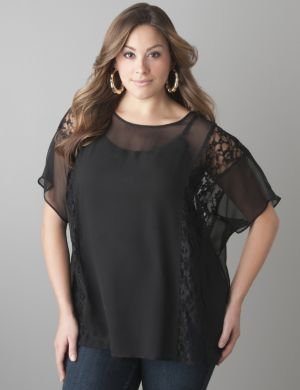 Lace inset sheer blouse