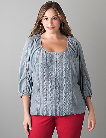 Chambray crochet dolman top by Lane Bryant