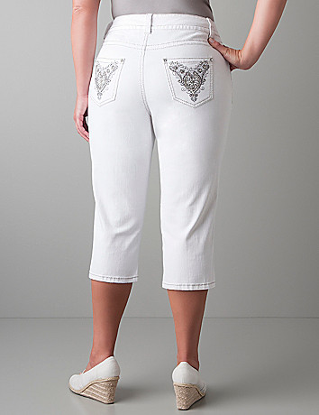 Embellished white denim capri by Lane Bryant