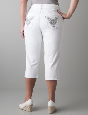 Embellished white denim capri