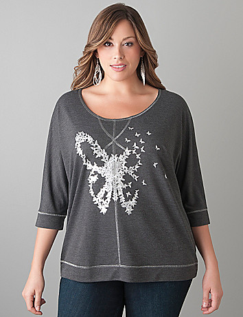 Butterfly dolman top by Lane Bryant