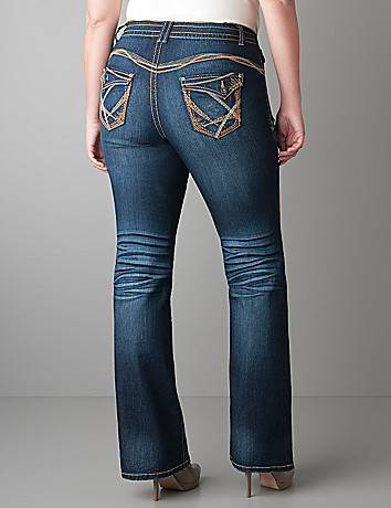 Heavy stitch flare jean  by Lane Bryant