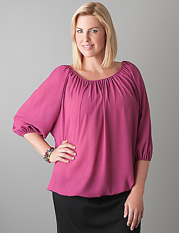 Full Figure Sheer Peasant Blouse by Lane Bryant