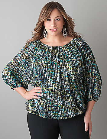 Print peasant blouse by Lane Bryant