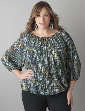 Print peasant blouse