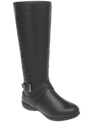 Buckled riding boot with comfort sole