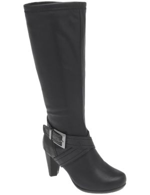 Croc strap heeled boot