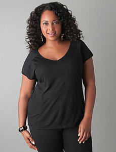 Lace shoulder tee by Lane Bryant