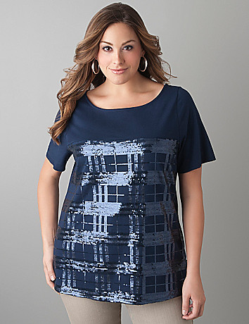 Plaid sequin tee by Lane Bryant