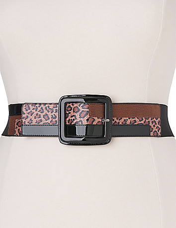 Leopard colorblock stretch belt  by Lane Bryant