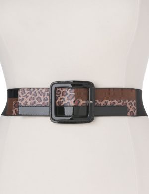 Leopard colorblock stretch belt