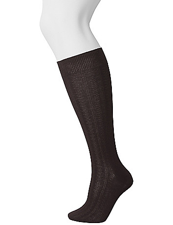 Cable knit knee sock duo by Lane Bryant