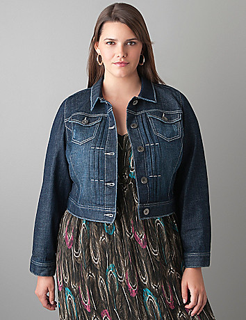 Dark sandblast denim jacket by Lane Bryant
