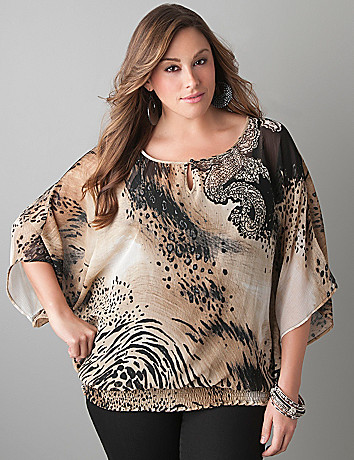 Animal print dolman blouse by Lane Bryant