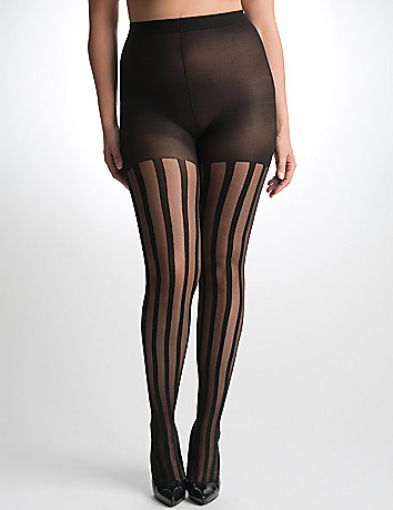 Textured stripe tights by Lane Bryant